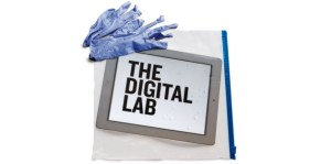 "Lab gloves on a tablet that says ""The Digital Lab"""