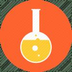 Flask in an orange circle.
