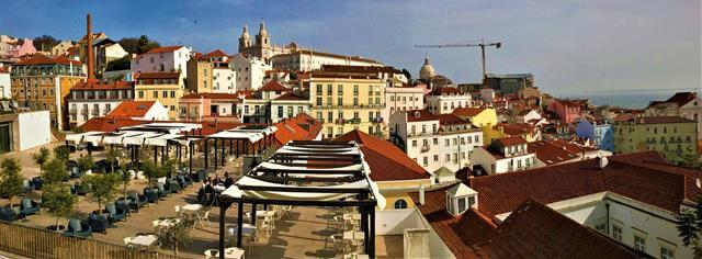 The view of Largo Do Contador Mor in Lisbon, Portugal
