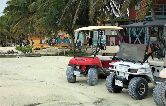 Golf carts at Caye Caulker Belize