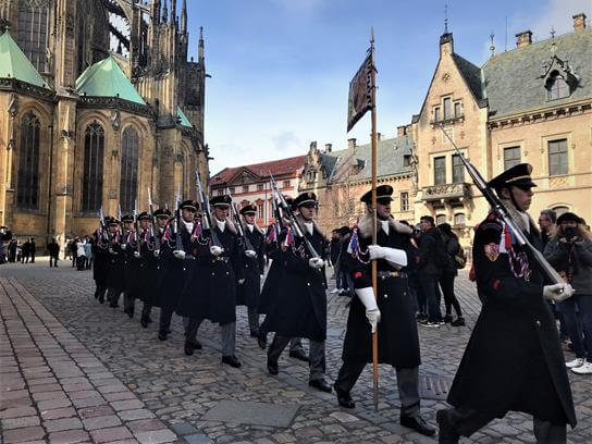 Guard marching in Prague castle
