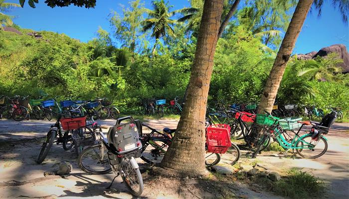 Bicycles parking in Anse Source D'Argent, Seychelles