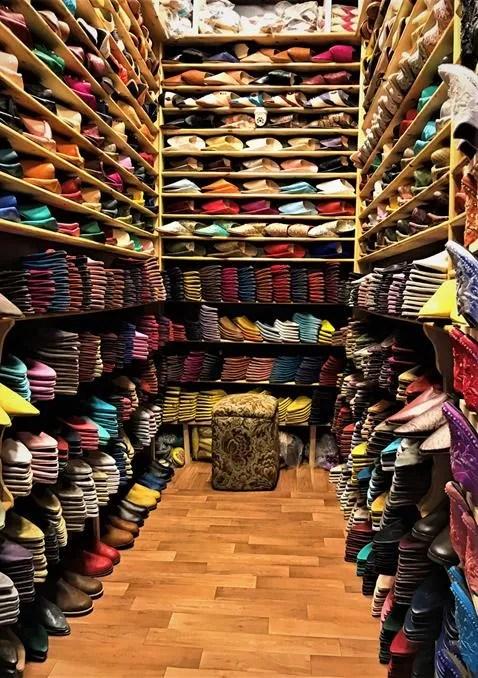 Leather shoes shop- Fes, Morocco