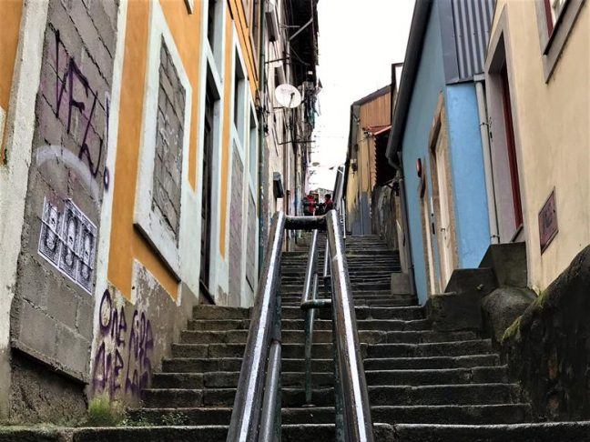 The Stairs At Escadas Dos Guindais in Porto