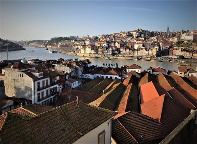 The roof of Vila Nova de Gaia and the Ribeira across the river