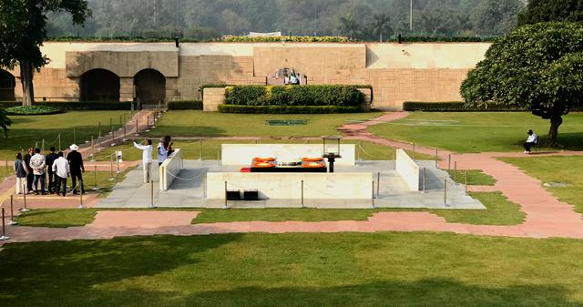 The memorial of Ghandi inside Raj Ghat park