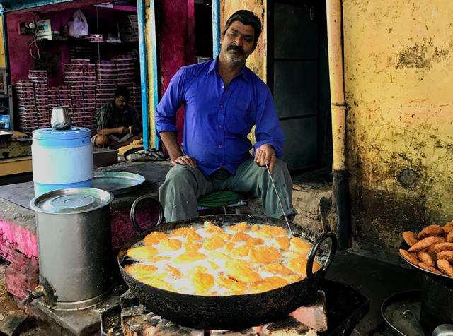 A street food vendor in India