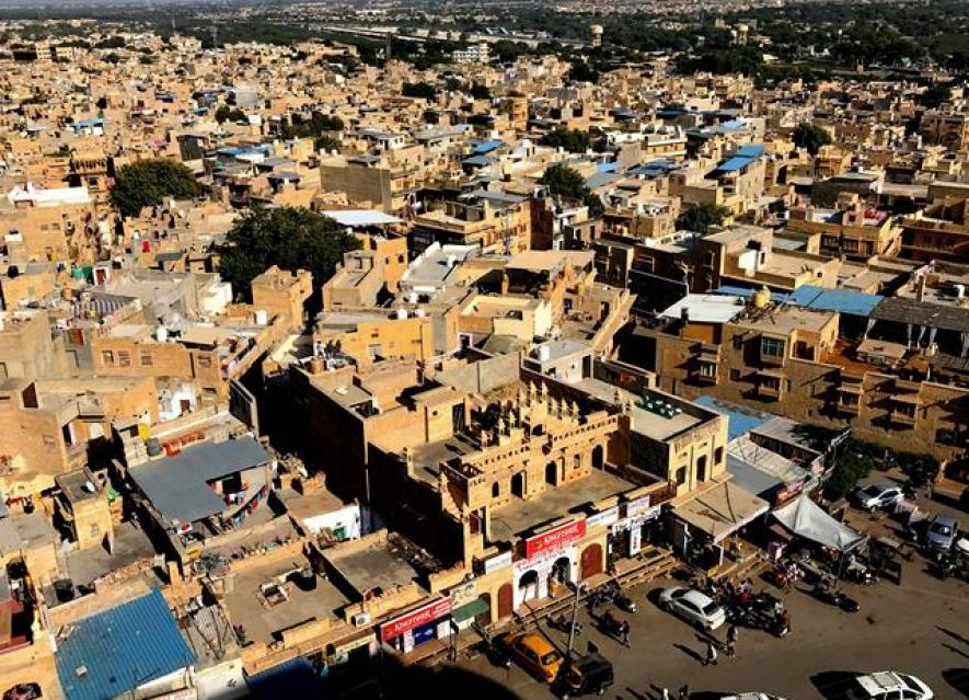 The views of the rooftops in Jaisalmer