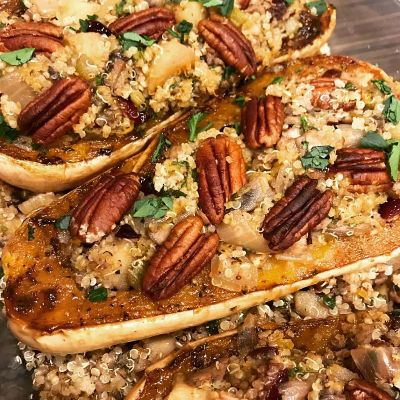 Maple Cranberry Quinoa Stuffed Squash