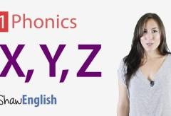 Consonants 'x', 'y' and 'z'