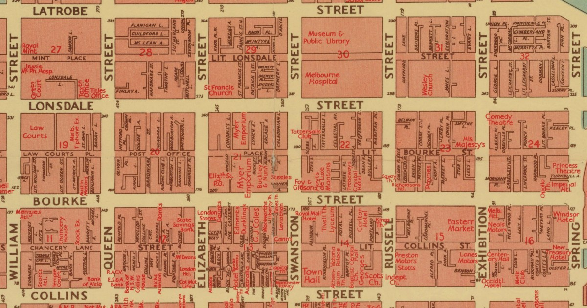 The naming of the streets of Melbourne
