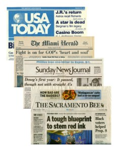 Collage of Newspapers (USA Today, The Miami Herald, News Journal, and The Sacramento Bee)