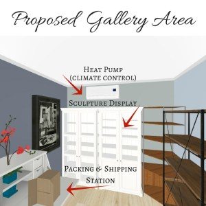 Preliminary design for Shawna's accessible studio