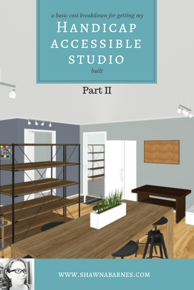 Image showing a sketch/blueprint of an art studio with text overlay. Text overlay is the title of the blog.