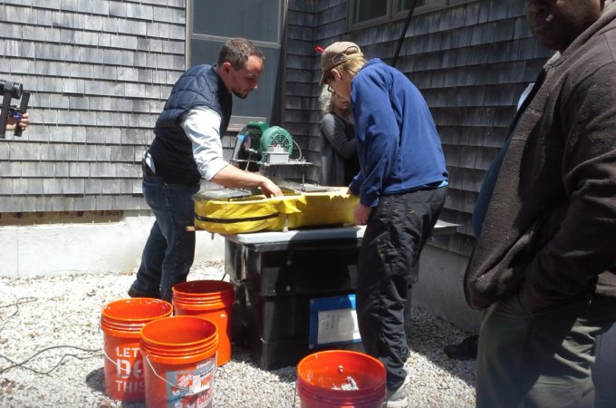 David Keefe demonstrating paper making process May2015