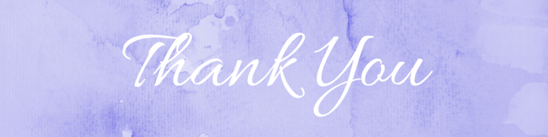 purple watercolor background with white text that says thank you