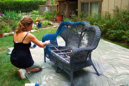 Wicker Loveseat Chair Garden Container Project Paint