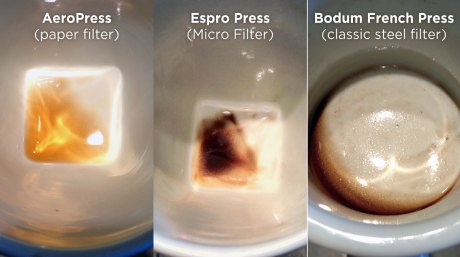 Grit comparison between an AeroPress, Espro Press, and French Press