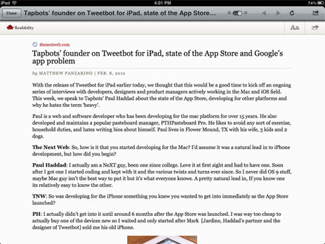 Readability view in Tweetbot for iPad