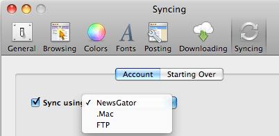 NetNewsWire Syncing Options