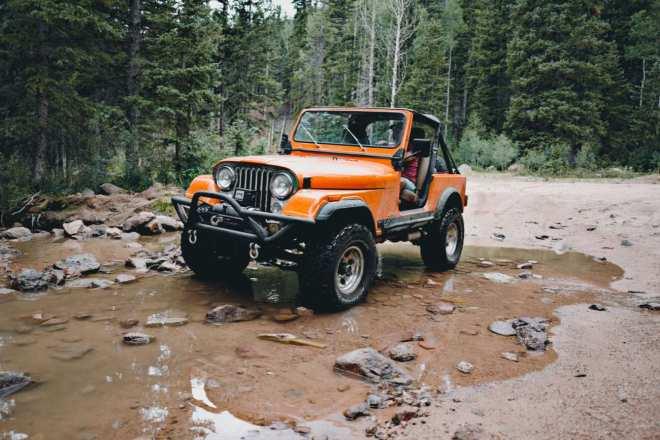 Orange Jeep CJ-7 in Colorado