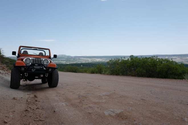 Orange Jeep CJ-7 in Colorado