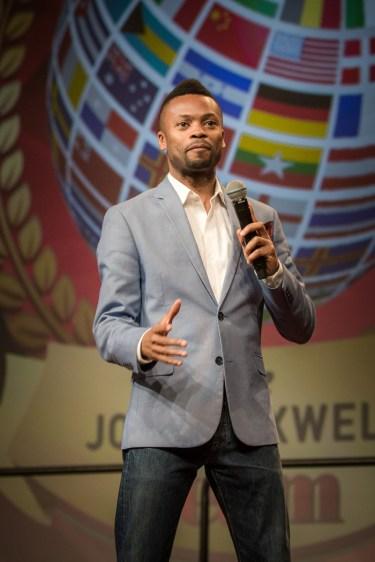 Shawn Byfield speaking on stage