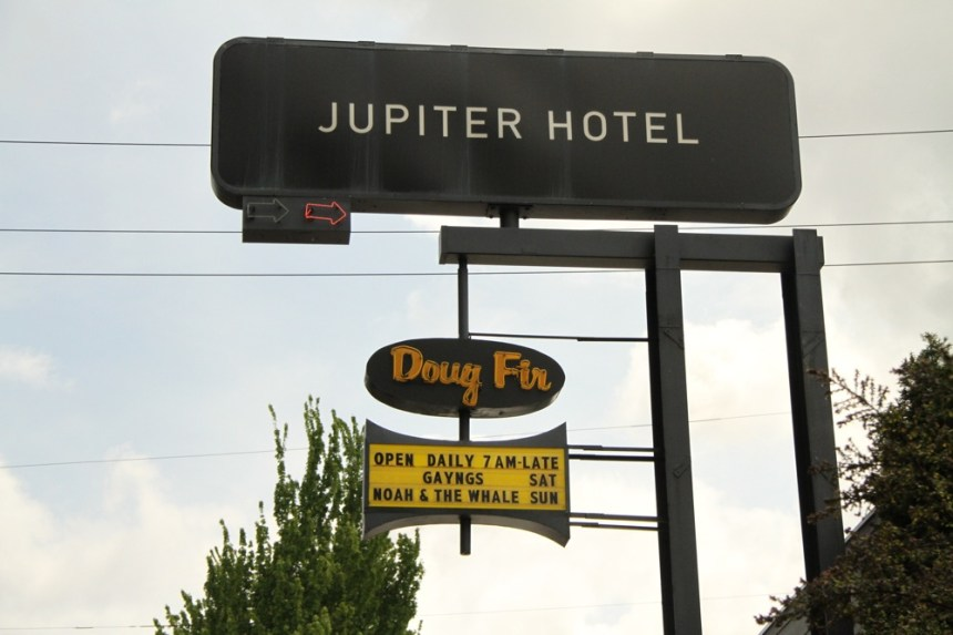 Jupiter Hotel marquee, May 27 2011. Robyn Hanson photo. Portland Oregon food and drink