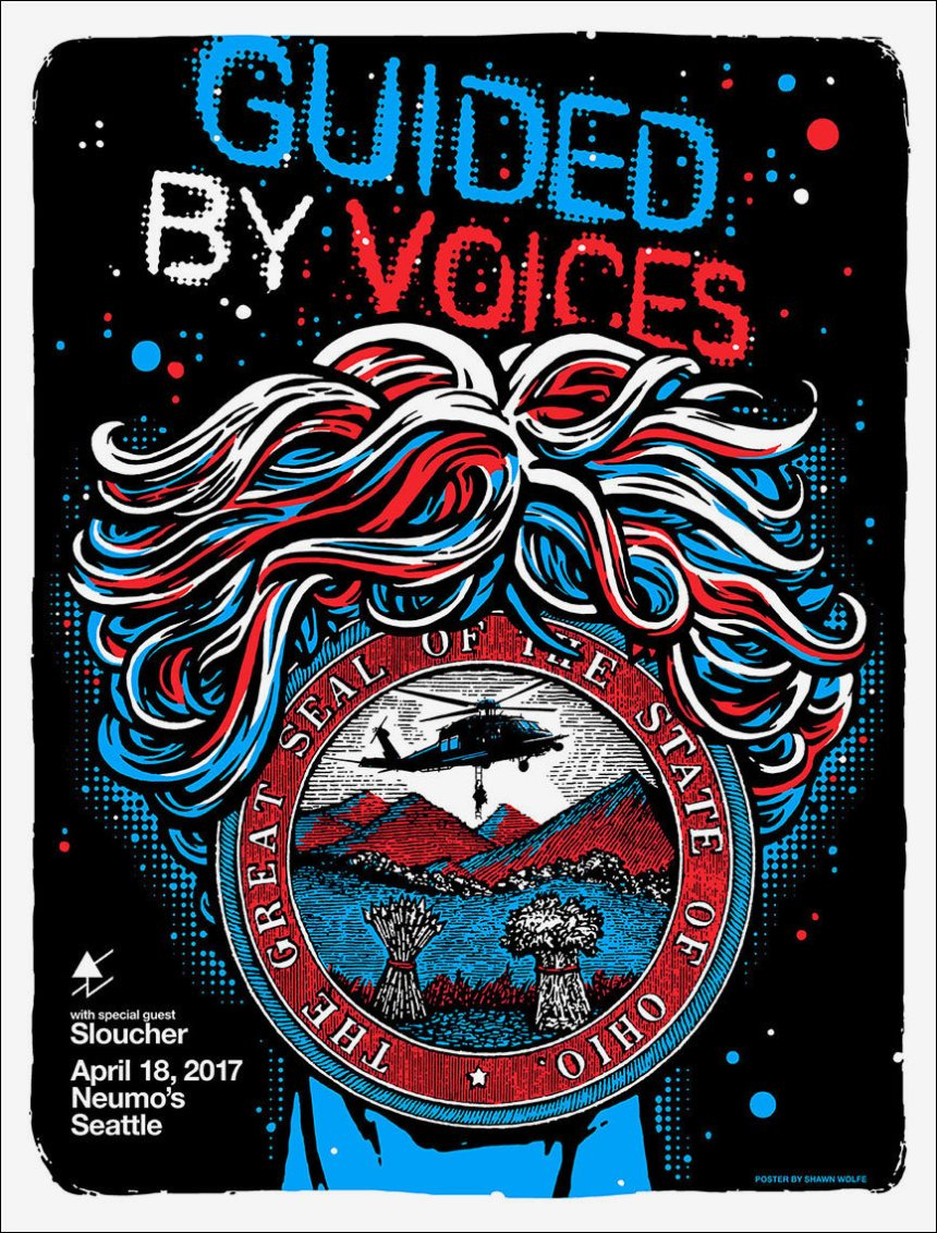 Guided by Voices 2017 Neumos Seattle tour poster.