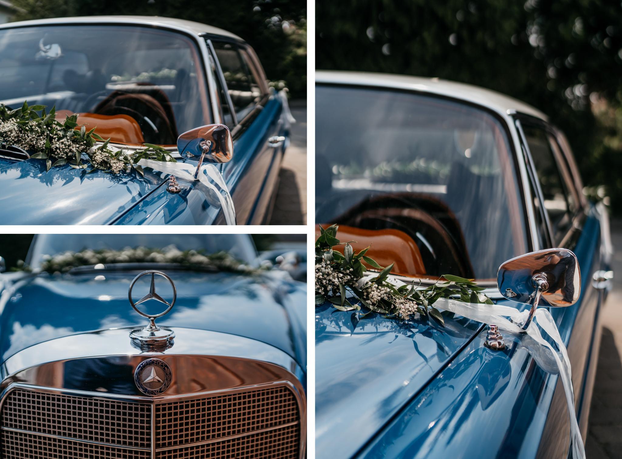 Hochzeit auf Schloss Heiligenberg Hochzeitsauto Oldtimer