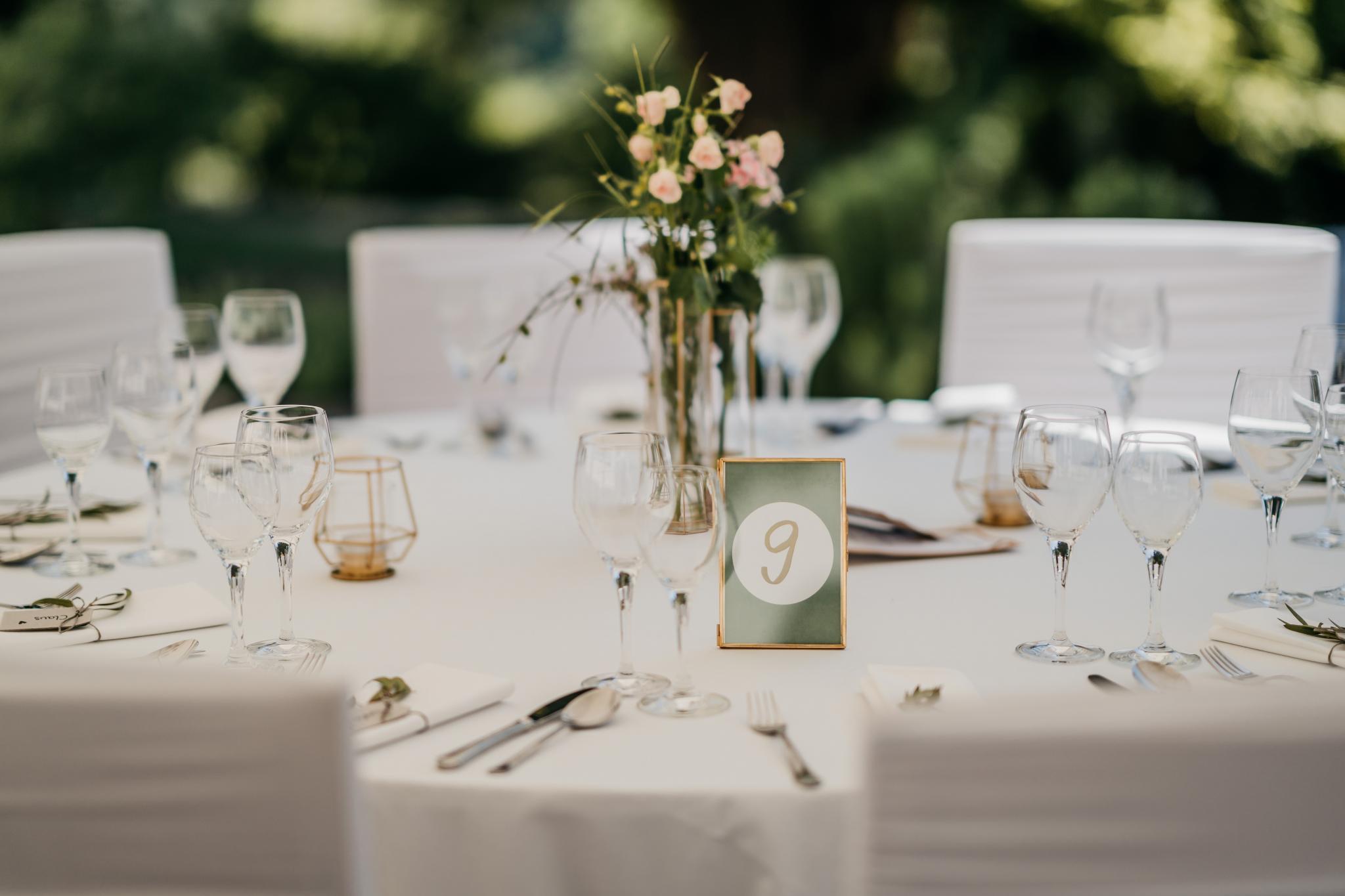 Hochzeit auf Schloss Heiligenberg Tischdekoration