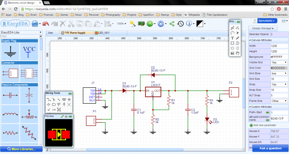 Wiring up the schematic