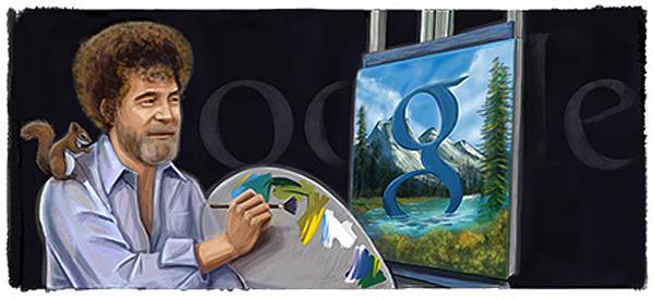 bob ross google doodle 70th birthday