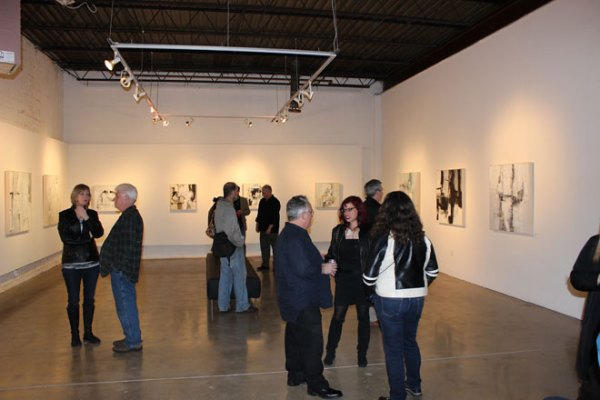 people art gallery reception contemporary paintings