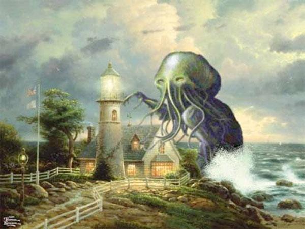 thomas kinkade parody spoof painting octopus monster lighthouse