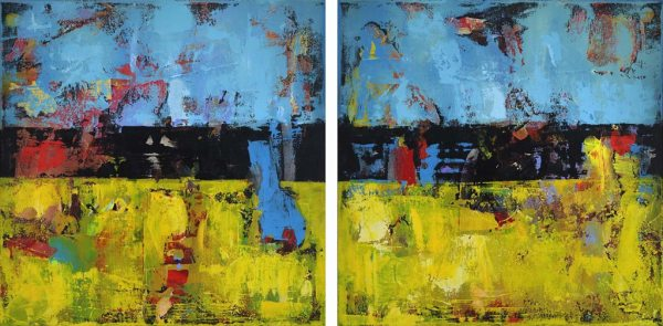Hay Large Blue Yellow Diptych Abstract