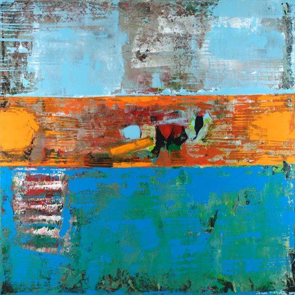 Alligator Orange Blue Abstract Painting
