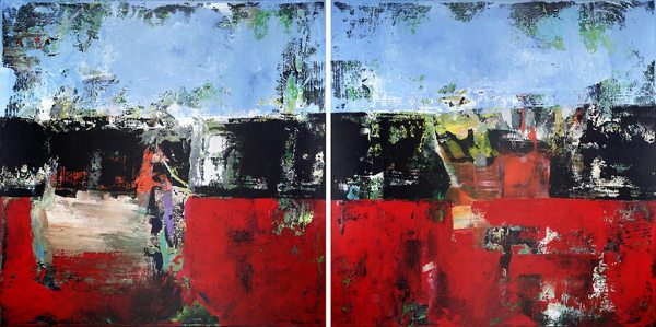 Blackburn Lancashire Abstract Diptych Painting