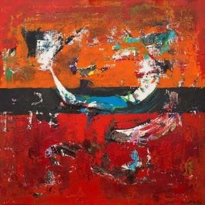 Brigantine Ship Red Abstract Expressionistic Art Painting