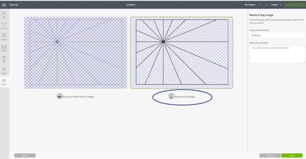 Save as a cut file in Cricut Design Space