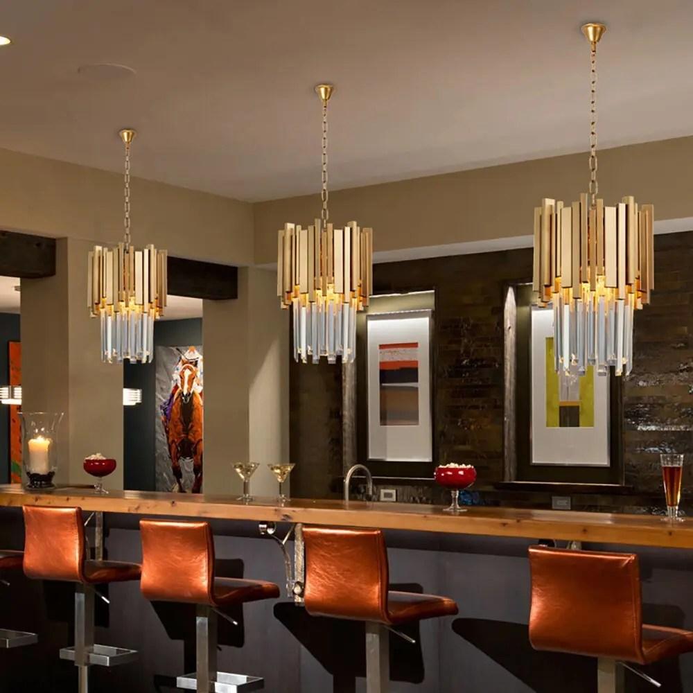 Small Round Gold Kitchen Chandelier Lighting Modern