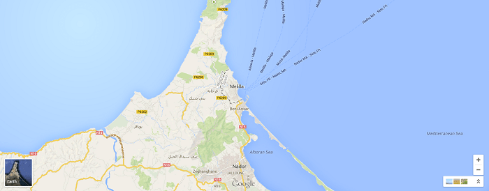 Location of Melilla, Spain