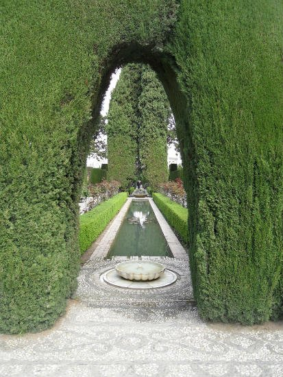 Fountain and Bushes in Generalife