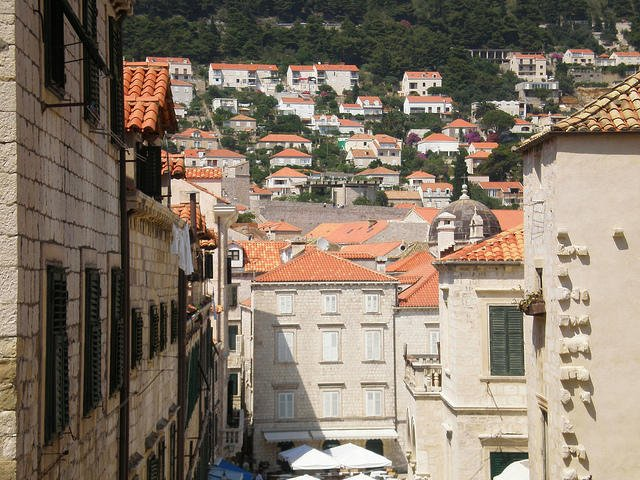 Red Roofs on top of a steep street in Old Dubrovnik