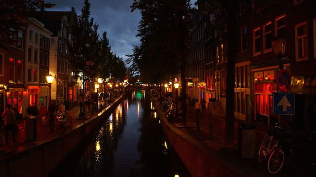Amsterdam Netherlands - Red-light District at Night