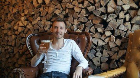 Bruges Belgium - Shawn with beer at De Halve Maan