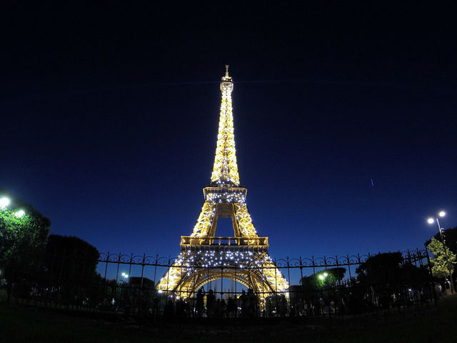 Paris France - Eiffel Tower sparkling at night