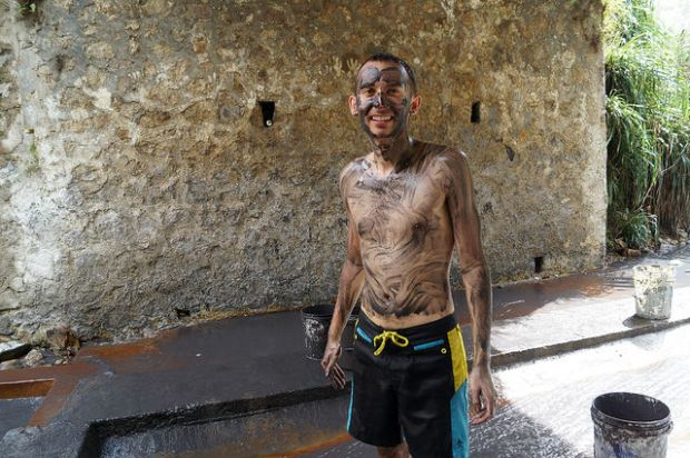 Exploring the Island of St. Lucia - Mud bath at the Pitons
