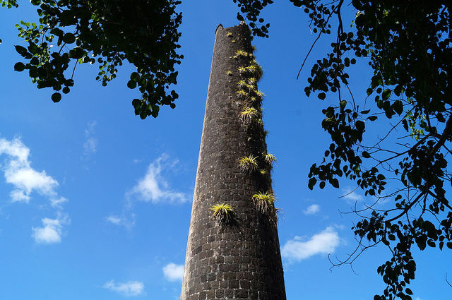 The Island Tour of St. Kitts - Chimney Stack at old sugar cane plantation