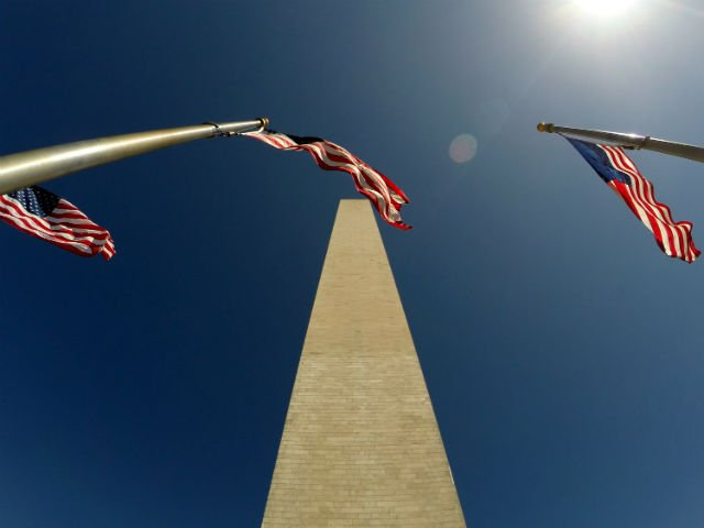 Highlights of Washington DC - American flags with washington monument